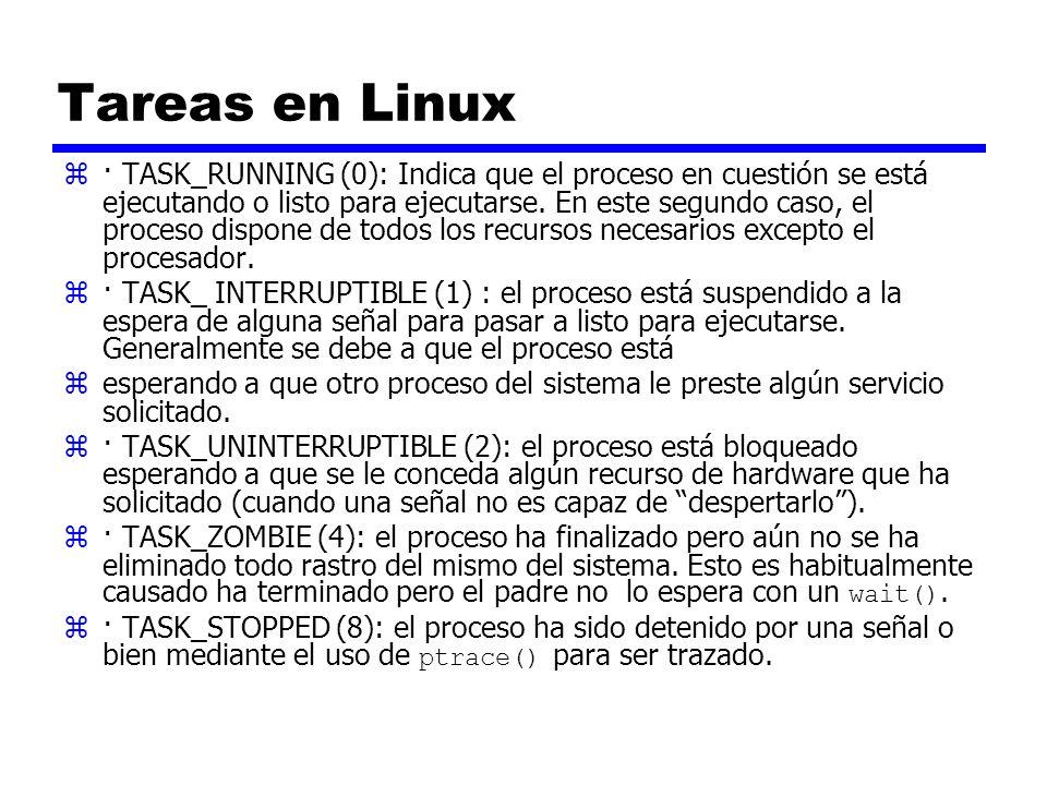 Tareas en Linux z· TASK_RUNNING (0): Indica que el proceso en cuestión se está ejecutando o listo para ejecutarse. En este segundo caso, el proceso di