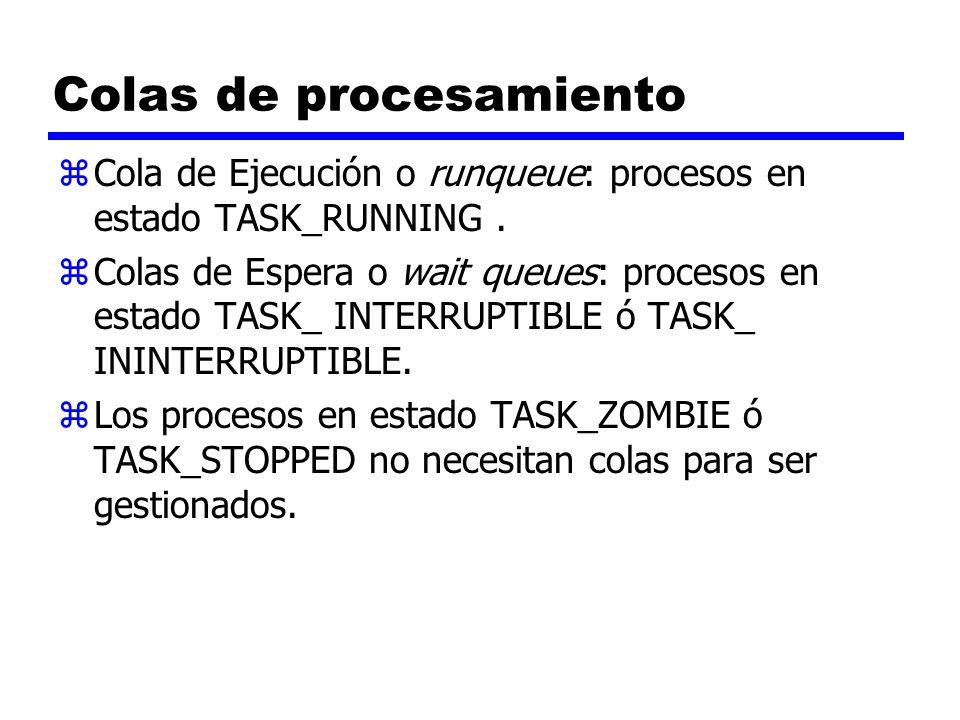 Colas de procesamiento zCola de Ejecución o runqueue: procesos en estado TASK_RUNNING. zColas de Espera o wait queues: procesos en estado TASK_ INTERR