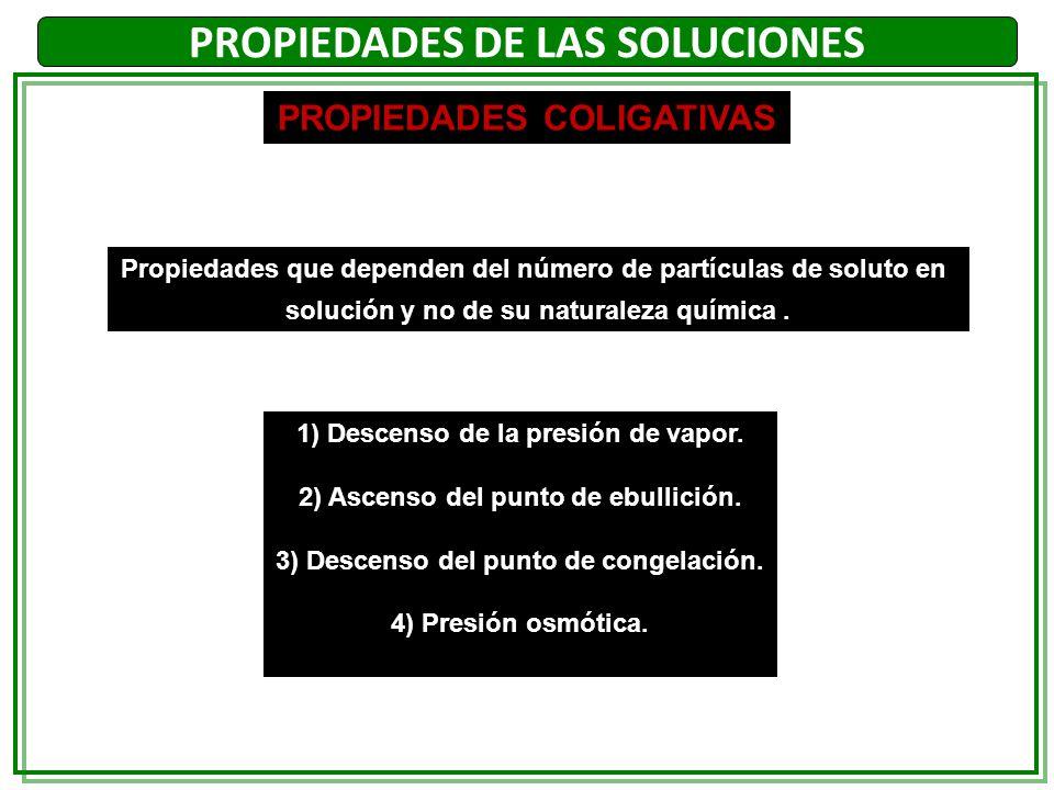PROPIEDADES DE LAS SOLUCIONES PROPIEDADES COLIGATIVAS Propiedades que dependen del número de partículas de soluto en solución y no de su naturaleza qu