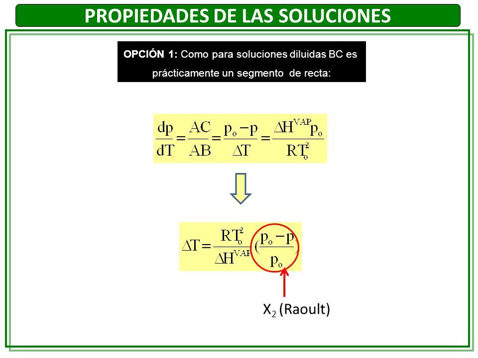 PROPIEDADES DE LAS SOLUCIONES OPCIÓN 1: Como para soluciones diluidas BC es prácticamente un segmento de recta: X 2 (Raoult)