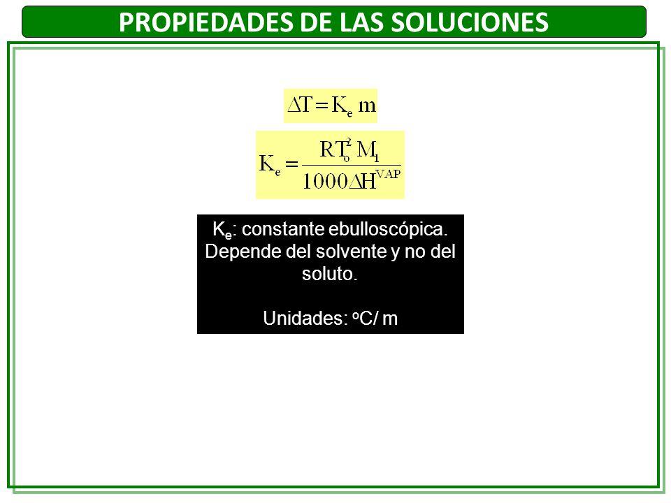 PROPIEDADES DE LAS SOLUCIONES K e : constante ebulloscópica. Depende del solvente y no del soluto. Unidades: o C/ m