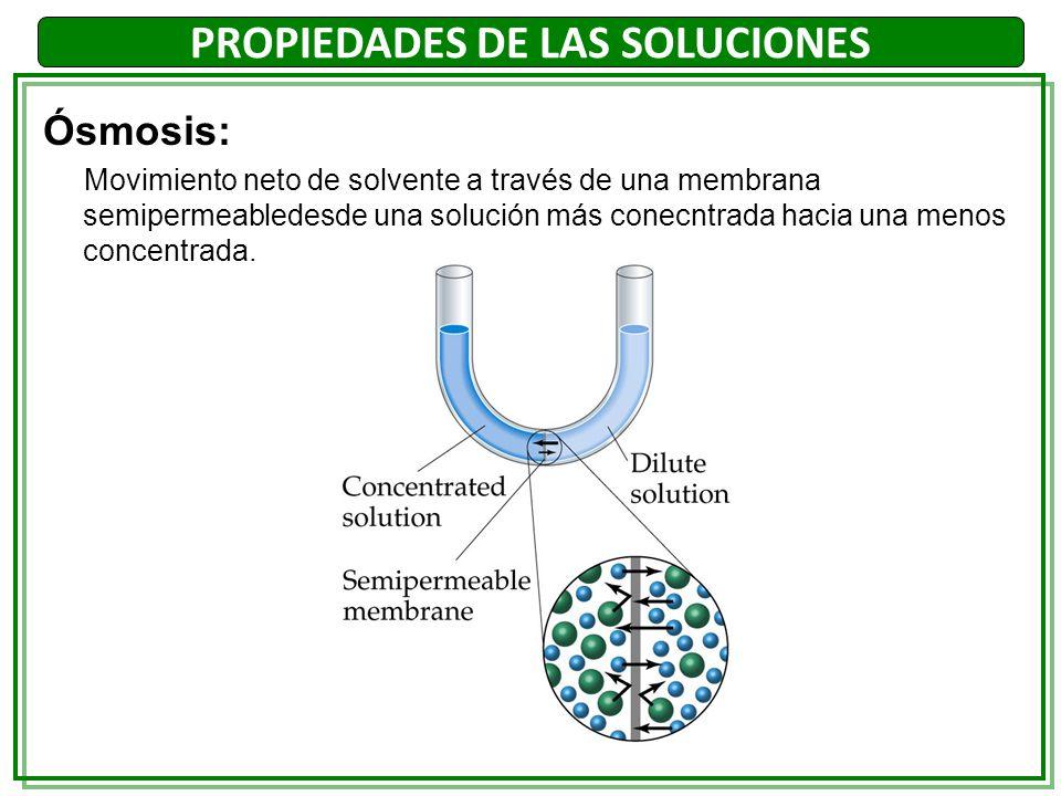 Ósmosis: Movimiento neto de solvente a través de una membrana semipermeabledesde una solución más conecntrada hacia una menos concentrada. PROPIEDADES