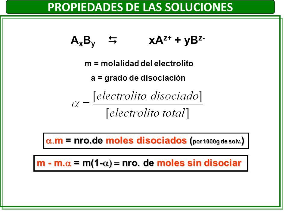 A x B y xA z+ + yB z- m = molalidad del electrolito a = grado de disociación m = nro.de moles disociados ( por 1000g de solv. ) m = nro.de moles disoc