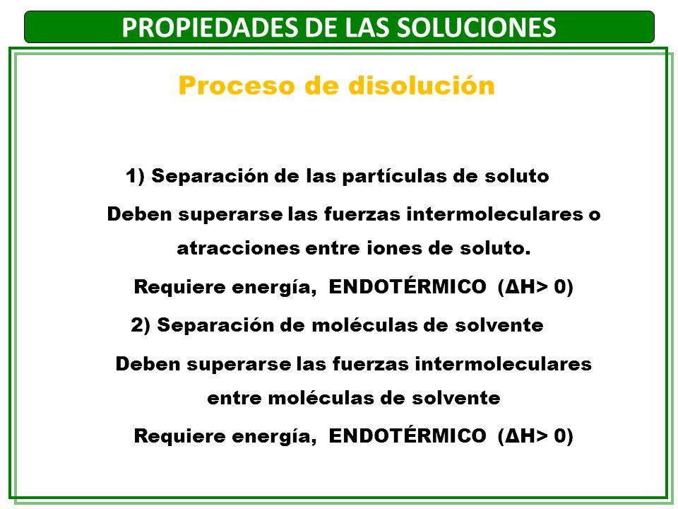 PROPIEDADES DE LAS SOLUCIONES 3) Interacción entre soluto y solvente Aparecen interacciones atractivas entre solvente y soluto Solvatación Se libera energía, EXOTÉRMICO (ΔH<0) Para que el soluto resulte soluble en el solvente la intensidad de las fuerzas de interacción soluto-solvente deben ser comparables a las de soluto-soluto y solvente- solvente.