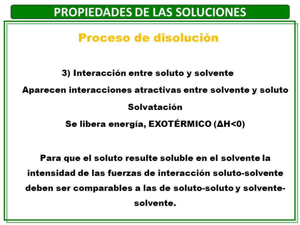 PROPIEDADES DE LAS SOLUCIONES 3) Interacción entre soluto y solvente Aparecen interacciones atractivas entre solvente y soluto Solvatación Se libera e