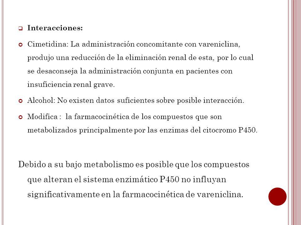 Interacciones: Cimetidina: La administración concomitante con vareniclina, produjo una reducción de la eliminación renal de esta, por lo cual se desac