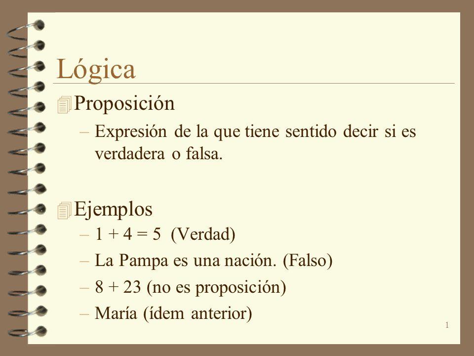 1 Lógica 4 Proposición –Expresión de la que tiene sentido decir si es verdadera o falsa. 4 Ejemplos –1 + 4 = 5 (Verdad) –La Pampa es una nación. (Fals