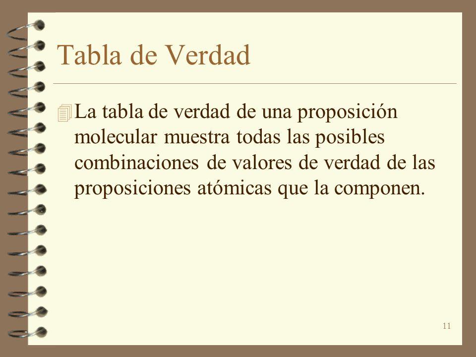 11 Tabla de Verdad 4 La tabla de verdad de una proposición molecular muestra todas las posibles combinaciones de valores de verdad de las proposicione