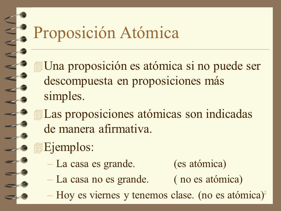 2 Proposición Atómica 4 Una proposición es atómica si no puede ser descompuesta en proposiciones más simples. 4 Las proposiciones atómicas son indicad