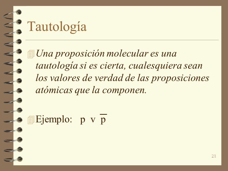 21 Tautología 4 Una proposición molecular es una tautología si es cierta, cualesquiera sean los valores de verdad de las proposiciones atómicas que la