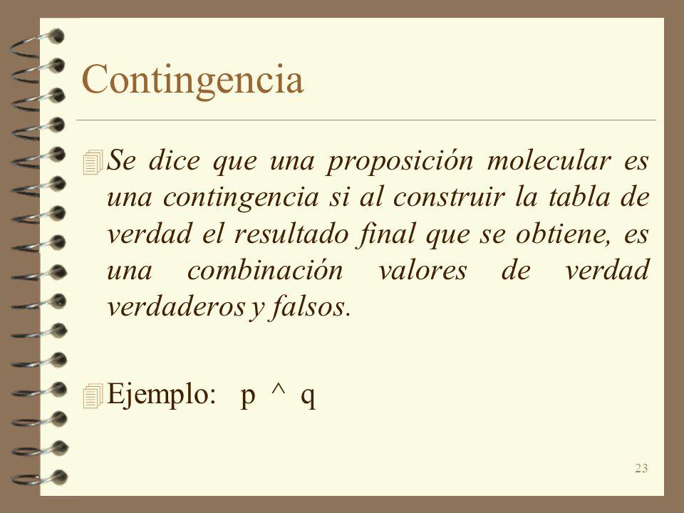 23 Contingencia 4 Se dice que una proposición molecular es una contingencia si al construir la tabla de verdad el resultado final que se obtiene, es u