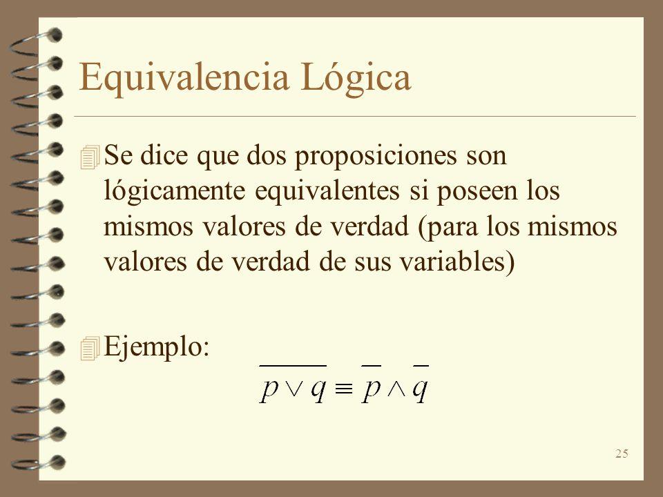 25 Equivalencia Lógica 4 Se dice que dos proposiciones son lógicamente equivalentes si poseen los mismos valores de verdad (para los mismos valores de