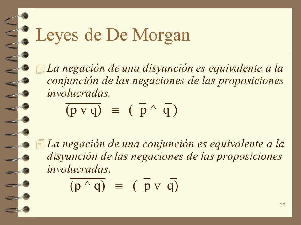 27 Leyes de De Morgan 4 La negación de una disyunción es equivalente a la conjunción de las negaciones de las proposiciones involucradas. (p v q) ( p