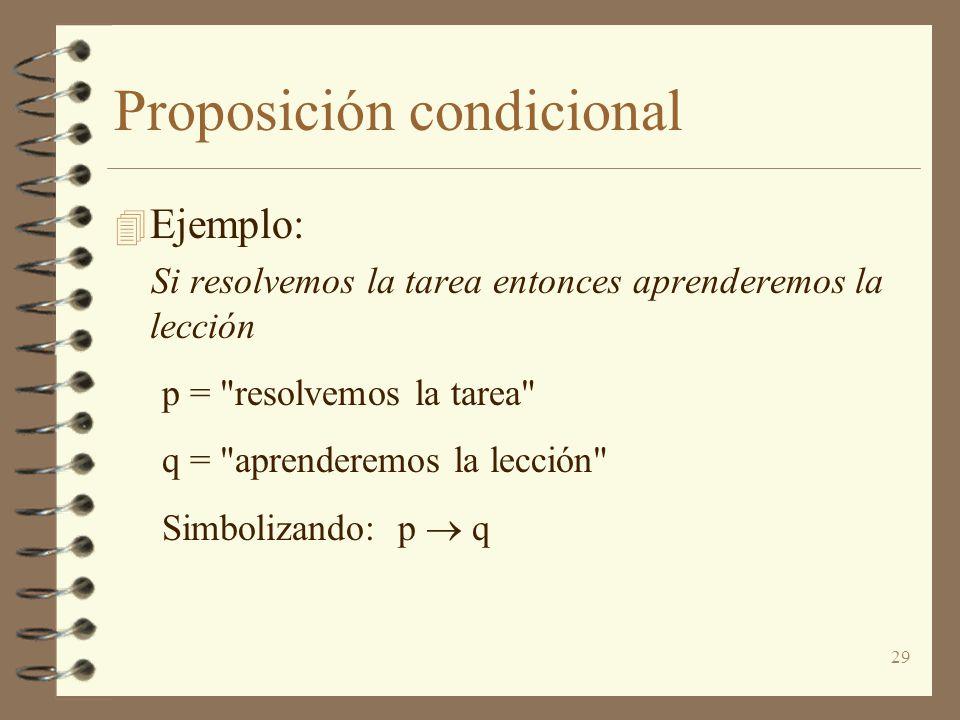 29 Proposición condicional 4 Ejemplo: Si resolvemos la tarea entonces aprenderemos la lección p =