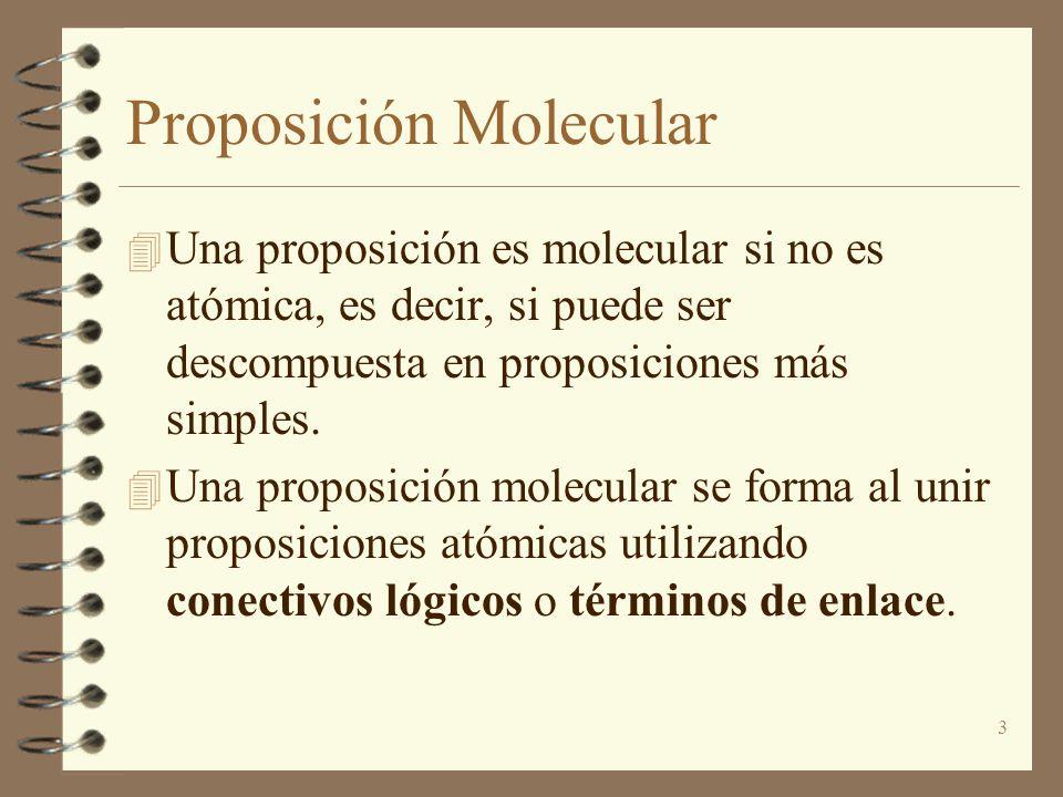 3 Proposición Molecular 4 Una proposición es molecular si no es atómica, es decir, si puede ser descompuesta en proposiciones más simples. 4 Una propo