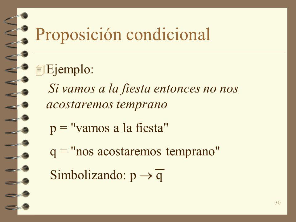 30 Proposición condicional 4 Ejemplo: Si vamos a la fiesta entonces no nos acostaremos temprano p =