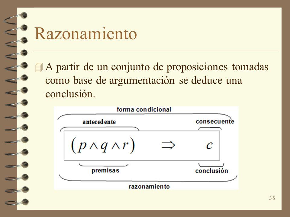 38 Razonamiento 4 A partir de un conjunto de proposiciones tomadas como base de argumentación se deduce una conclusión.