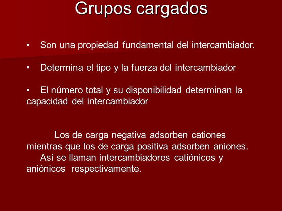 Grupos cargados Son una propiedad fundamental del intercambiador. Determina el tipo y la fuerza del intercambiador El número total y su disponibilidad