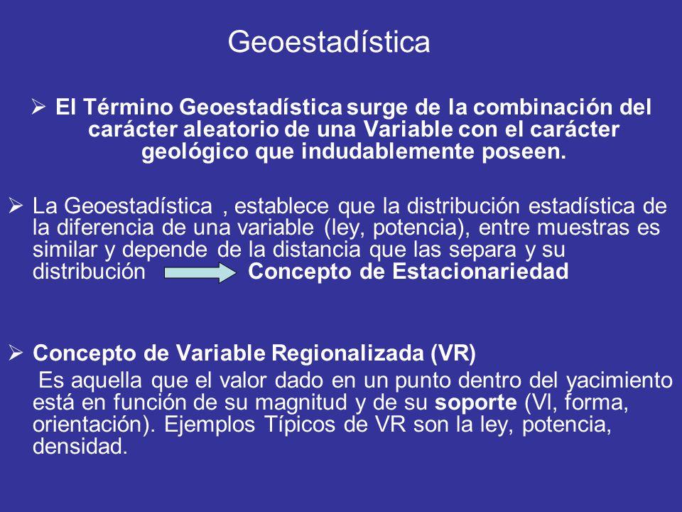 El Término Geoestadística surge de la combinación del carácter aleatorio de una Variable con el carácter geológico que indudablemente poseen. La Geoes