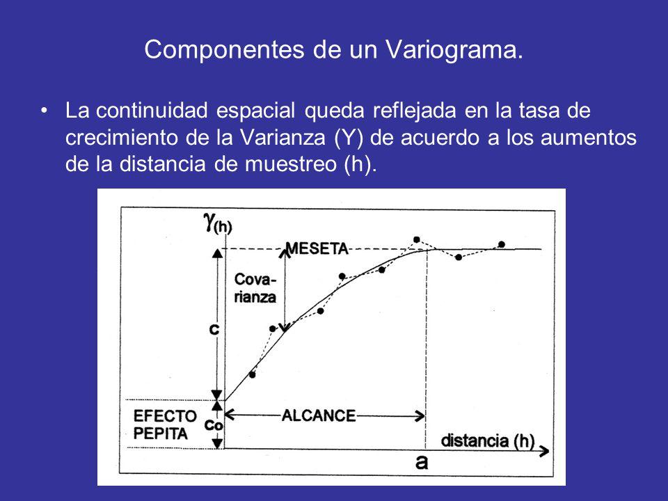 Componentes de un Variograma. La continuidad espacial queda reflejada en la tasa de crecimiento de la Varianza (Y) de acuerdo a los aumentos de la dis