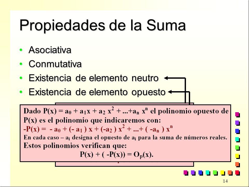 14 Propiedades de la Suma AsociativaAsociativa ConmutativaConmutativa Existencia de elemento neutroExistencia de elemento neutro Existencia de elemento opuestoExistencia de elemento opuesto