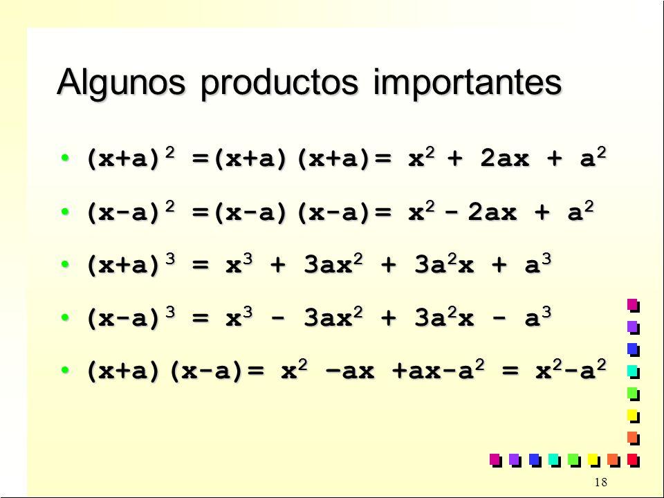 18 Algunos productos importantes (x+a) 2 =(x+a)(x+a)= x 2 + 2ax + a 2(x+a) 2 =(x+a)(x+a)= x 2 + 2ax + a 2 (x-a) 2 =(x-a)(x-a)= x 2 - 2ax + a 2(x-a) 2 =(x-a)(x-a)= x 2 - 2ax + a 2 (x+a) 3 = x 3 + 3ax 2 + 3a 2 x + a 3(x+a) 3 = x 3 + 3ax 2 + 3a 2 x + a 3 (x-a) 3 = x 3 - 3ax 2 + 3a 2 x - a 3(x-a) 3 = x 3 - 3ax 2 + 3a 2 x - a 3 (x+a)(x-a)= x 2 –ax +ax-a 2 = x 2 -a 2(x+a)(x-a)= x 2 –ax +ax-a 2 = x 2 -a 2