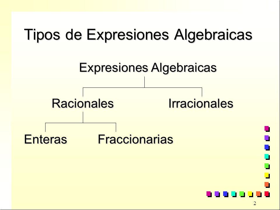 3 Expresión Algebraica Racional Es racional cuando las variables no están afectadas por la radicaciónEs racional cuando las variables no están afectadas por la radicación EjemploEjemplo