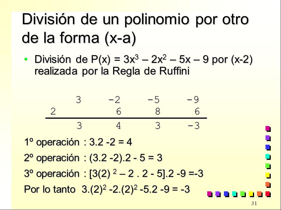 31 División de un polinomio por otro de la forma (x-a) División de P(x) = 3x 3 – 2x 2 – 5x – 9 por (x-2) realizada por la Regla de RuffiniDivisión de P(x) = 3x 3 – 2x 2 – 5x – 9 por (x-2) realizada por la Regla de Ruffini 3 -2 -5 -9 3 -2 -5 -9 2 6 8 6 2 6 8 6 3 4 3 -3 3 4 3 -3 1º operación : 3.2 -2 = 4 2º operación : (3.2 -2).2 - 5 = 3 3º operación : [3(2) 2 – 2.