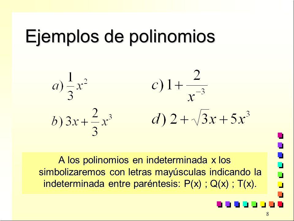 29 Ejercicios Dados los polinomios P(x) y Q(x) indica si alguno de ellos es divisible por el otroDados los polinomios P(x) y Q(x) indica si alguno de ellos es divisible por el otro a)P(x) = x 4 -2x 3 +x 2 -5x + 1 Q(x) = x 3 + x 2 + x + 1 Q(x) = x 3 + x 2 + x + 1 b)P(x) = x 4 +2x 3 +4x 2 + 8x +16 Q(x) = x 5 - 32 Q(x) = x 5 - 32