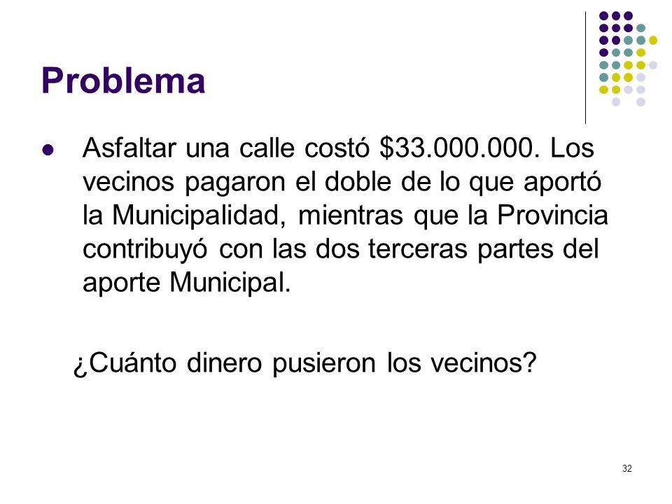 32 Problema Asfaltar una calle costó $33.000.000. Los vecinos pagaron el doble de lo que aportó la Municipalidad, mientras que la Provincia contribuyó