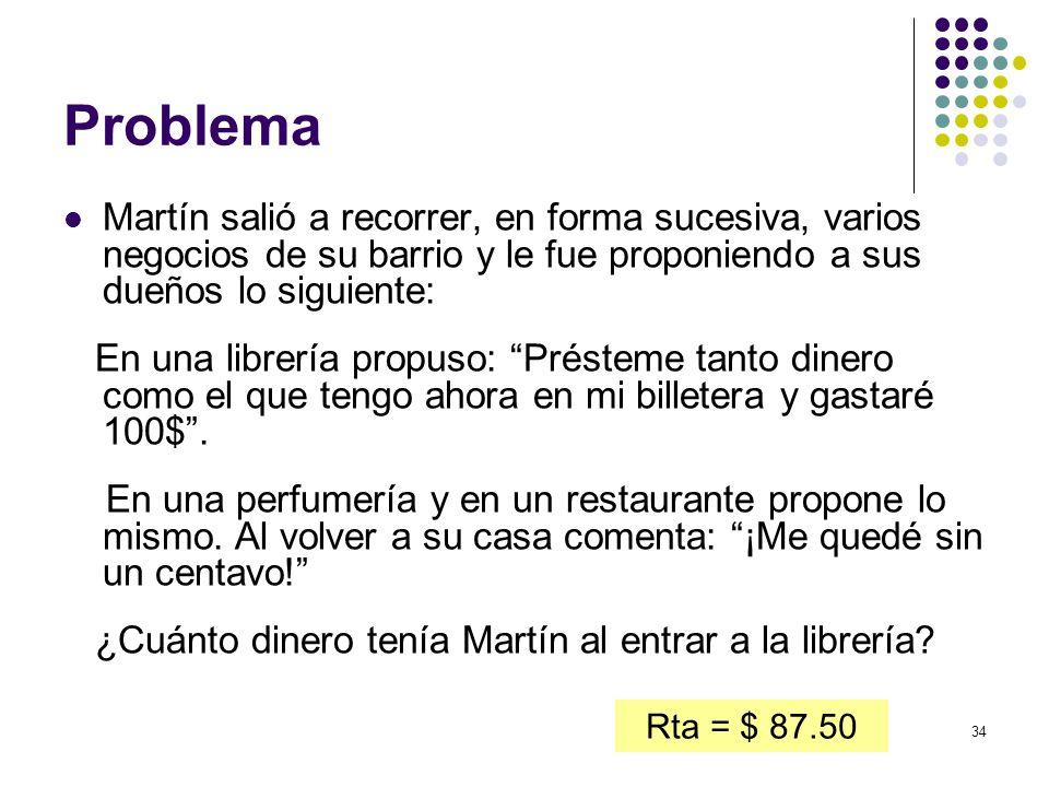 34 Problema Martín salió a recorrer, en forma sucesiva, varios negocios de su barrio y le fue proponiendo a sus dueños lo siguiente: En una librería p