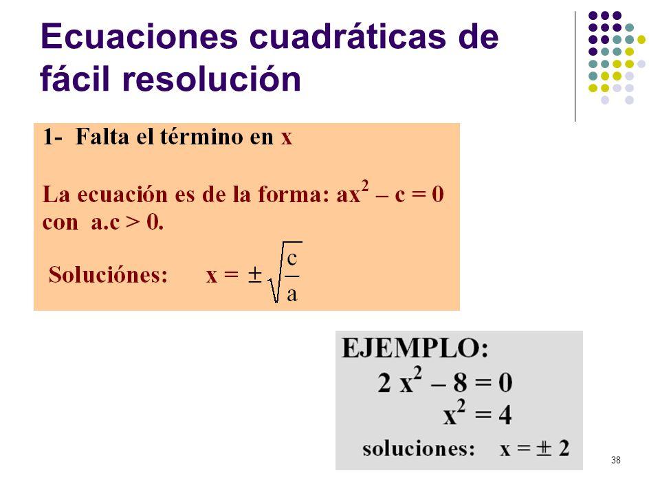 38 Ecuaciones cuadráticas de fácil resolución