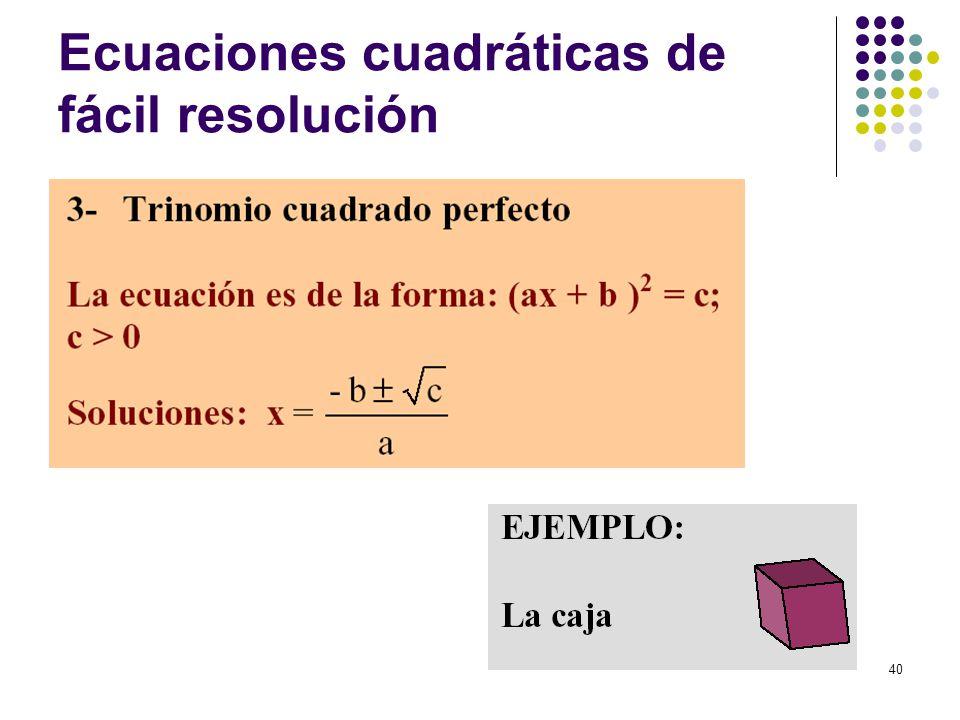 40 Ecuaciones cuadráticas de fácil resolución