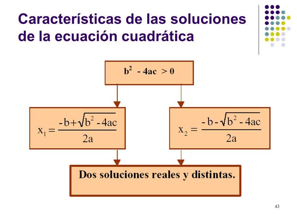 43 Características de las soluciones de la ecuación cuadrática