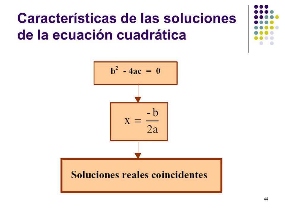 44 Características de las soluciones de la ecuación cuadrática