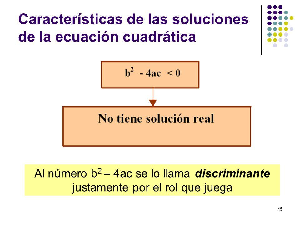 45 Características de las soluciones de la ecuación cuadrática Al número b 2 – 4ac se lo llama discriminante justamente por el rol que juega