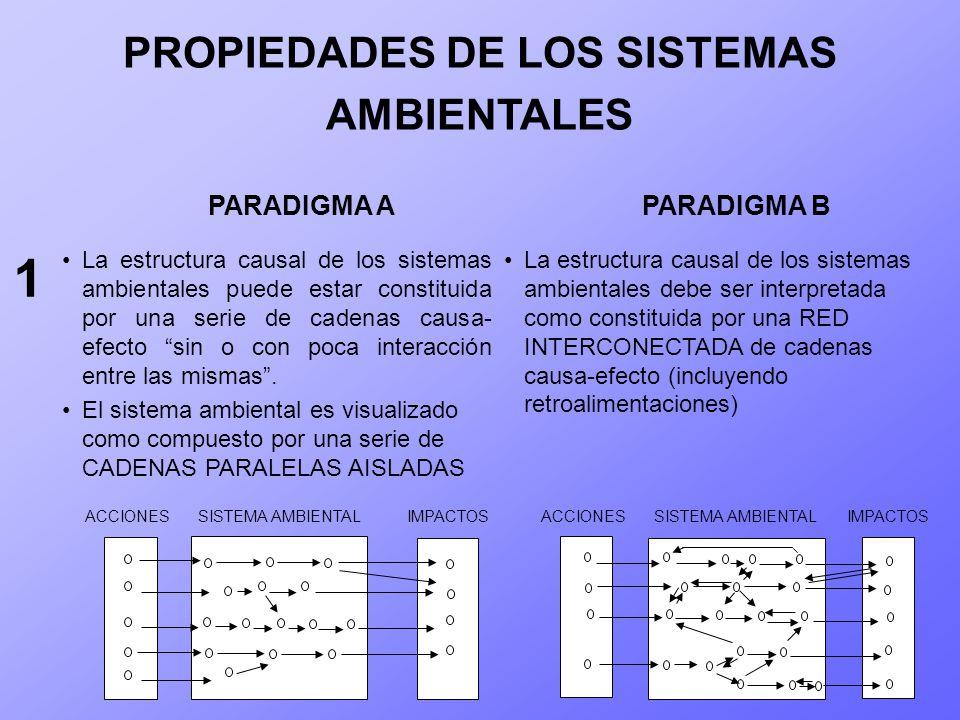 PROPIEDADES DE LOS SISTEMAS AMBIENTALES La estructura causal de los sistemas ambientales puede estar constituida por una serie de cadenas causa- efect