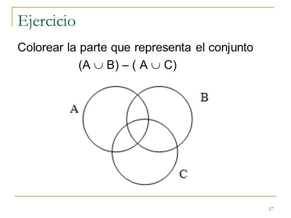 17 Ejercicio Colorear la parte que representa el conjunto (A B) – ( A C)