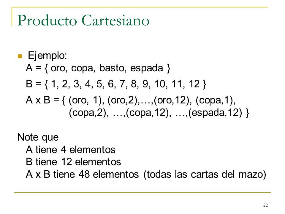 22 Producto Cartesiano Ejemplo: A = { oro, copa, basto, espada } B = { 1, 2, 3, 4, 5, 6, 7, 8, 9, 10, 11, 12 } A x B = { (oro, 1), (oro,2),…,(oro,12), (copa,1), (copa,2), …,(copa,12), …,(espada,12) } Note que A tiene 4 elementos B tiene 12 elementos A x B tiene 48 elementos (todas las cartas del mazo)