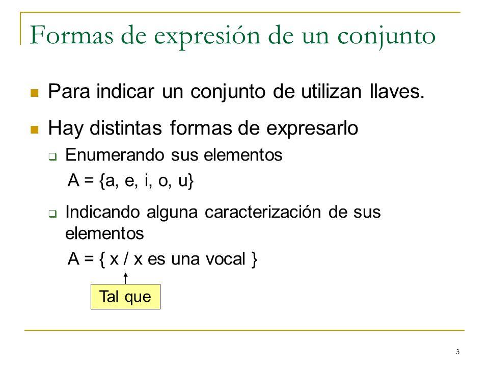 3 Formas de expresión de un conjunto Para indicar un conjunto de utilizan llaves. Hay distintas formas de expresarlo Enumerando sus elementos A = {a,