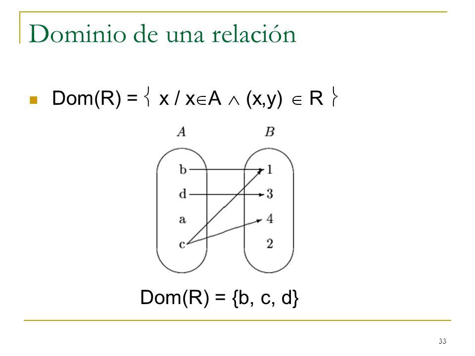 33 Dominio de una relación Dom(R) = x / x A (x,y) R Dom(R) = {b, c, d}