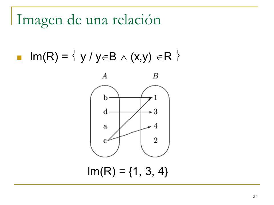 34 Imagen de una relación Im(R) = y / y B (x,y) R Im(R) = {1, 3, 4}