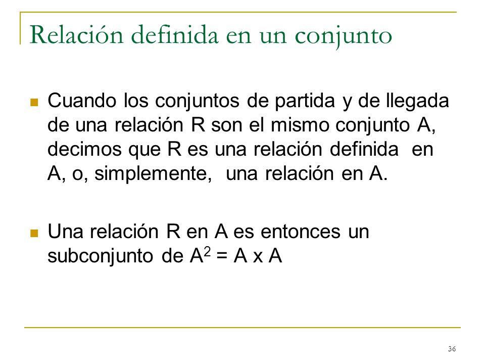 36 Relación definida en un conjunto Cuando los conjuntos de partida y de llegada de una relación R son el mismo conjunto A, decimos que R es una relación definida en A, o, simplemente, una relación en A.