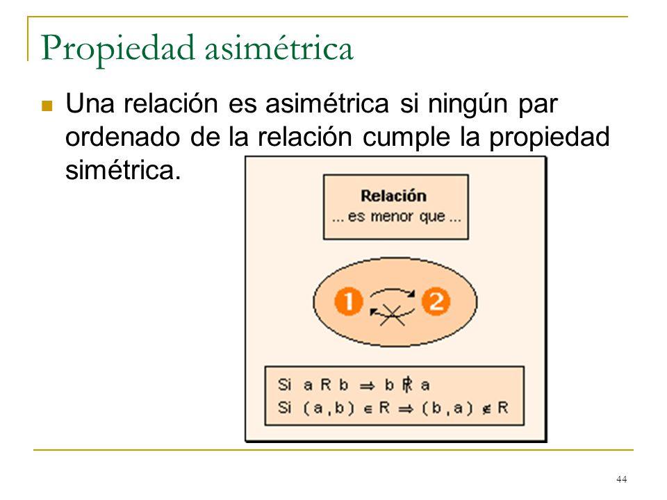 44 Propiedad asimétrica Una relación es asimétrica si ningún par ordenado de la relación cumple la propiedad simétrica.
