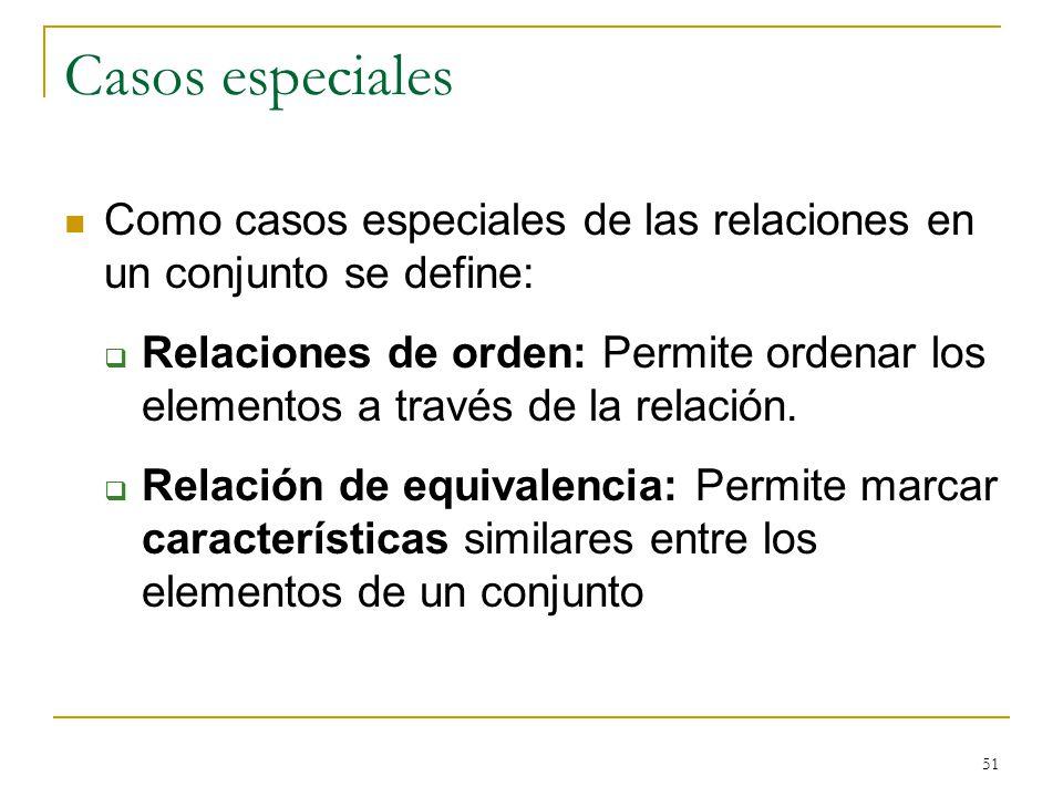 51 Casos especiales Como casos especiales de las relaciones en un conjunto se define: Relaciones de orden: Permite ordenar los elementos a través de la relación.