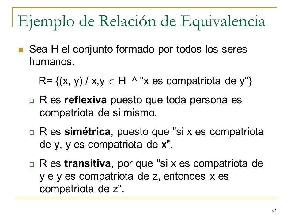 63 Ejemplo de Relación de Equivalencia Sea H el conjunto formado por todos los seres humanos. R= {(x, y) / x,y H ^