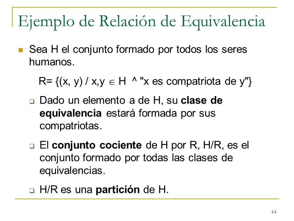 64 Ejemplo de Relación de Equivalencia Sea H el conjunto formado por todos los seres humanos. R= {(x, y) / x,y H ^