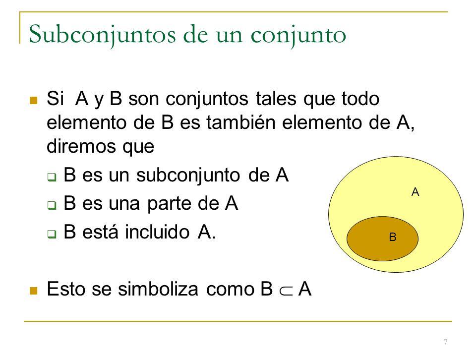 7 Subconjuntos de un conjunto Si A y B son conjuntos tales que todo elemento de B es también elemento de A, diremos que B es un subconjunto de A B es una parte de A B está incluido A.