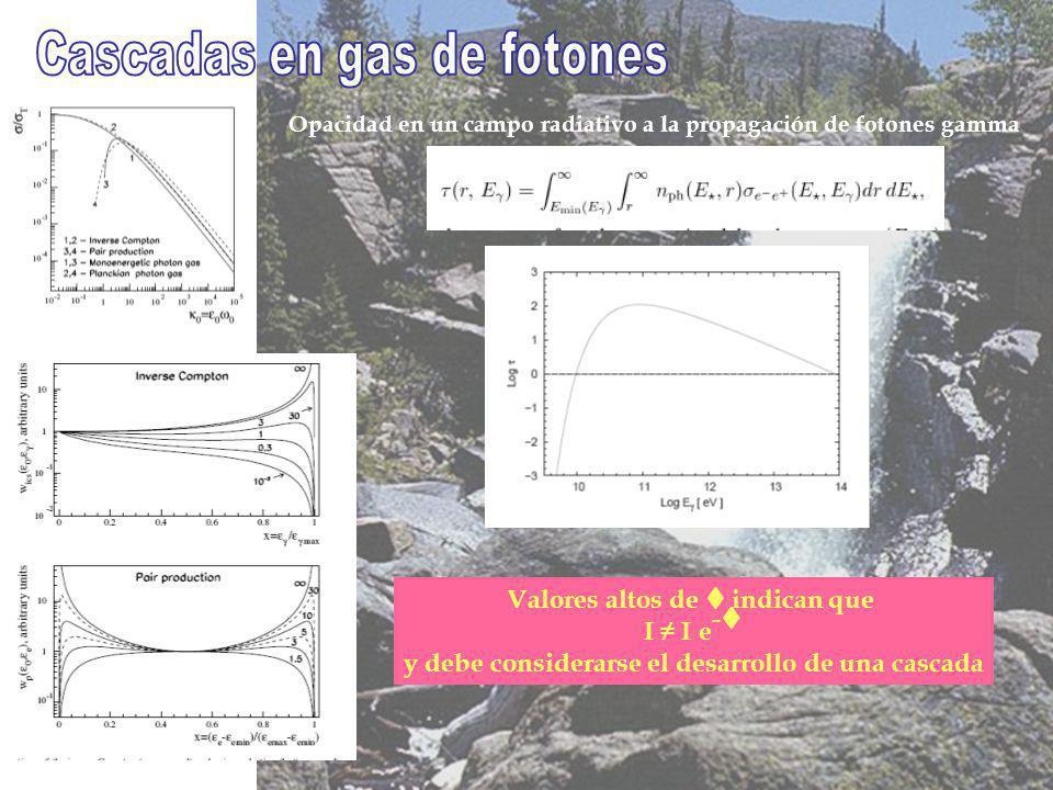 Opacidad en un campo radiativo a la propagación de fotones gamma Valores altos de t indican que I I e - t y debe considerarse el desarrollo de una cascada