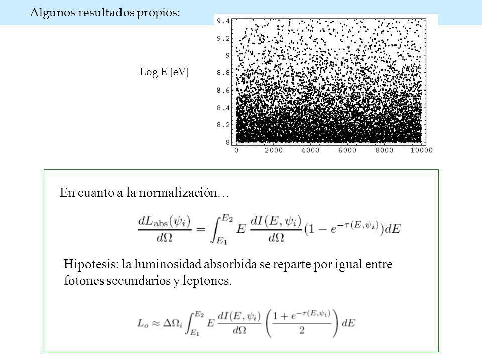 Algunos resultados propios: Log E [eV] Hipotesis: la luminosidad absorbida se reparte por igual entre fotones secundarios y leptones.